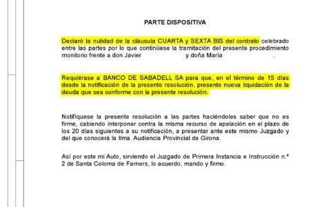 15-10-21.- AUTO notif el 19-10 se DECLARA LA NULIDAD DE LA CLAUSULA. Se requiere a BANCO SABADELL 15 dias para que presente nueva liquidacion