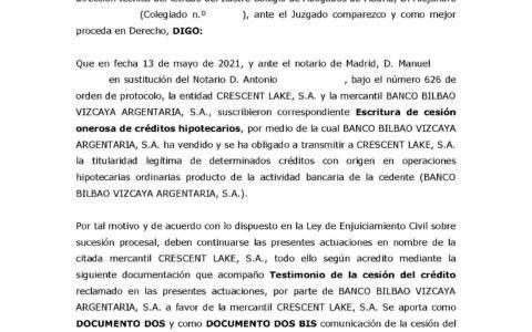18-10-21.- ESCRITO CONTRARIO de CRESCENT LAKE solicitando suspension actuaciones hasta que se resuelva cuestion sucesoria