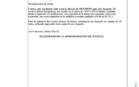 2. DECRETO notif el 13-10 se desestima recurso de reposicion de CAJA RURAL DEL SUR sin imposicion de costas