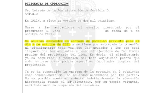 D.O. notif el 08-10 se une escrito de CAIXABANK. Se acuerda suspender posesion y por entregada la posesion